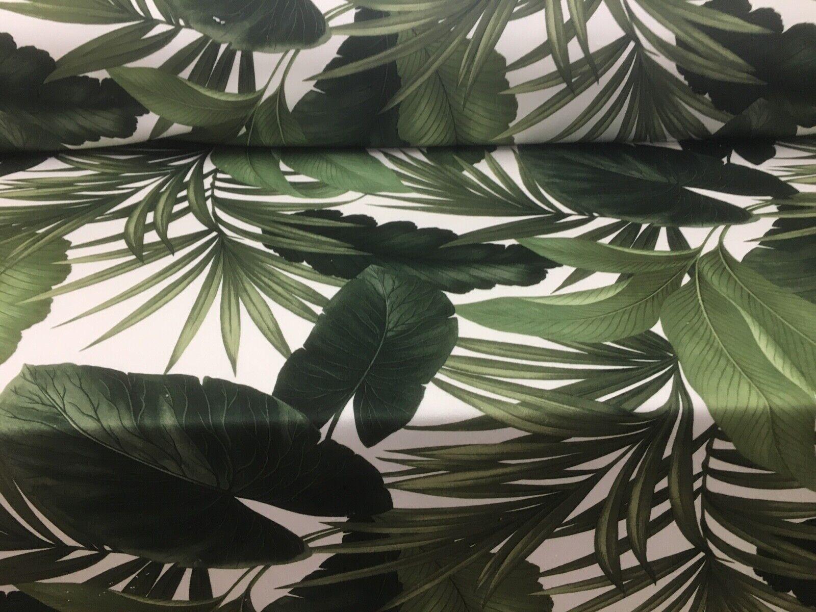 Velvet Jungle Palms Green Digital So Soft Velvet CurtainUpholstery Fabric