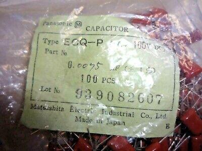 100 Pcs Ecq-p1752fz Panasonic .0075uf 100v 1 Polypropylene Film Capacitor