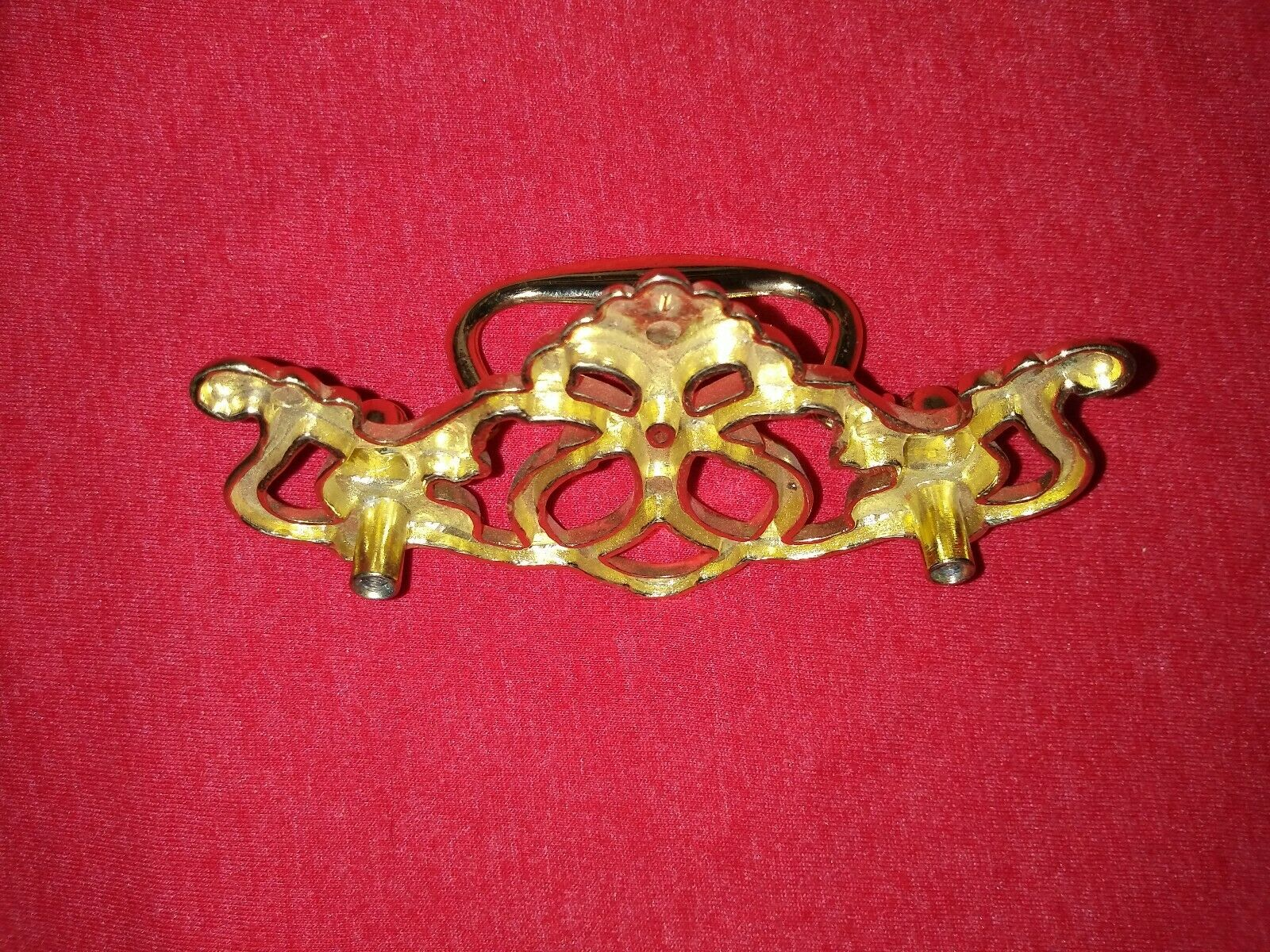 Single Vintage Brass Cabinet Drawer Pull Handle Chippendale Style Batwing 4.5  - $5.00