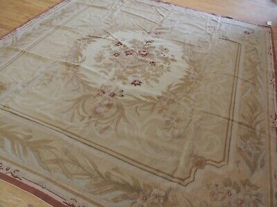 8x8 Square French Aubusson Needlepoint oriental area rug Beige Blue/Gray  Aubusson Square Rug