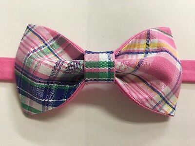 Custom Mens Pink Plaid Bow Tie Pre-tied Adjustable Handmade Wedding Prom Gift
