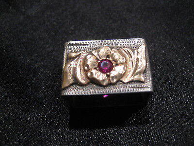 BEAUTIFUL Sterling 14K GOLD RUBY HOLLANDS Buckle Keeper for 3/4 inch Model 104