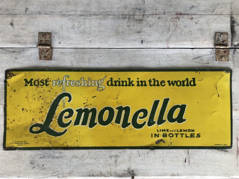 RARE Antique Metal Sign Lemonella Soda Advertising 1924