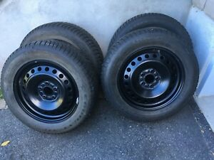 4 winter tires with rims 205/60/16 (5x108)