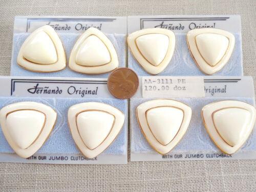 Vintage NOS lot quality 4 prs signed designer Fernando enamel pcd earrings DB