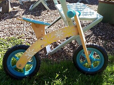 Plum blue wooden balance bike for 3-6 years old