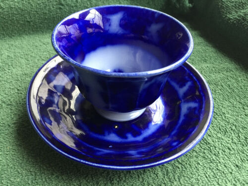 Collectible Antique Flow Blue Cup & Saucer TEMPLE PATTERN- SO DEEP BLUE! See Pic