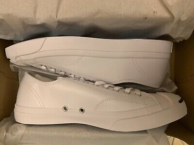 Converse Jack Purcell White Navy Leather 1S961  US Men's Size 10.5 LEA OX