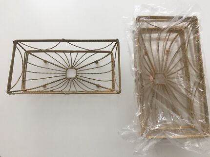 Decorative vintage style wire baskets x 4 - new