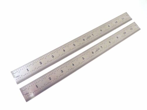 """2 Each Pair Igaging 12"""" Machinist 4R Ruler Scale Stainless 1/8, 1/16, 1/32/ 1/64"""