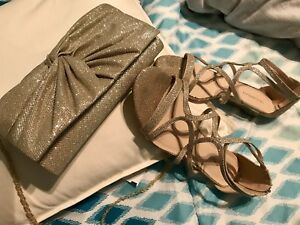 Light Gold Sandals with matching clutch