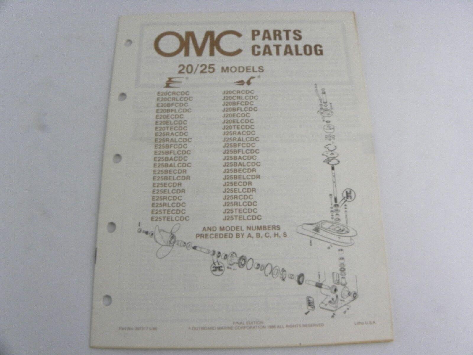Evinrude Johnson 20 / 25 Models Outboard Motor Parts Catalog Manual 1986 OMC