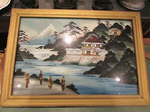 ancien grand tableau fix sous verre japon ep 1900 nacr decoupi collage japan ebay. Black Bedroom Furniture Sets. Home Design Ideas