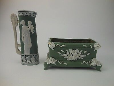 Jasper Ware Colored Neoclassical Green Roman Woman Holding Baby Pitcher Planter