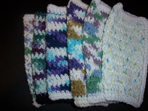 Hand Crocheted 100 % Cotton Dishcloths  Set of 5 You Pick Colors  Box # 6