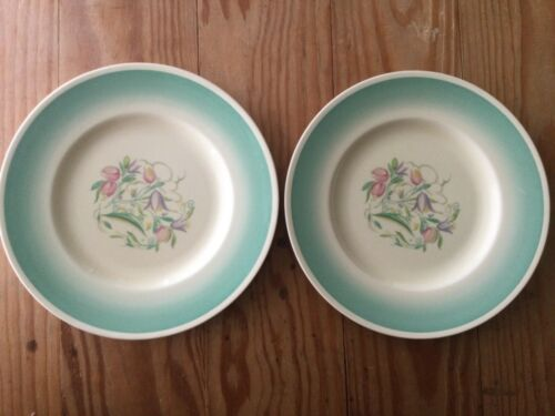 "LOT of 2: SUSIE COOPER Floral Design & Green Band 10"" Dia. Dinner PLATE ENGLAND"