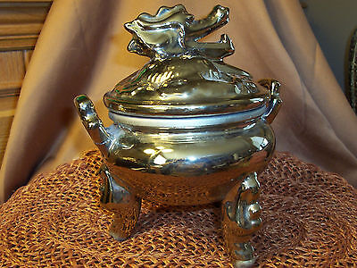 (chinese incense burner 2.5 lb.terra cotta with gold painted dragon head finial +)