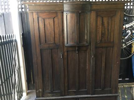 Antique timber wardrobe in need of some restoration