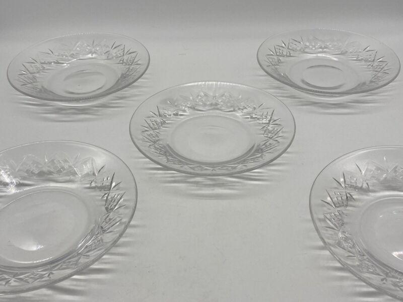 "Antique WEBB CORBETT Plates ETCHED CRYSTAL 6"" England Salad Fruit Plate Lot of 5"