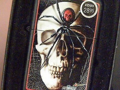 Zippo #28627 Mazzi Spider & Skull Lighter, Black Matte Finish, USA MIB NOS!