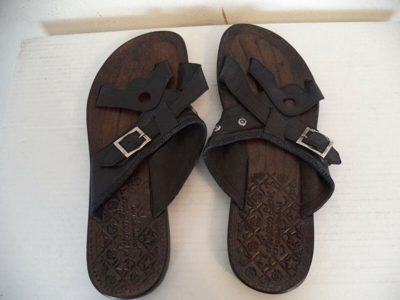 Men's Black Handmade Nesinco Slippers Sandals. Genuine Leath