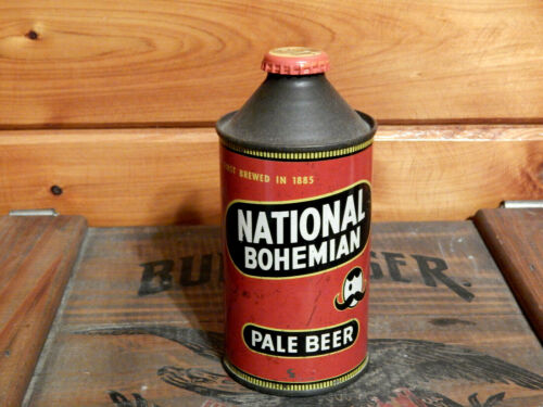 SWEET UNLISTED VINTAGE NATIONAL BOHEMIAN CONE TOP BEER CAN(USBC#175-7?..NO IRTP)