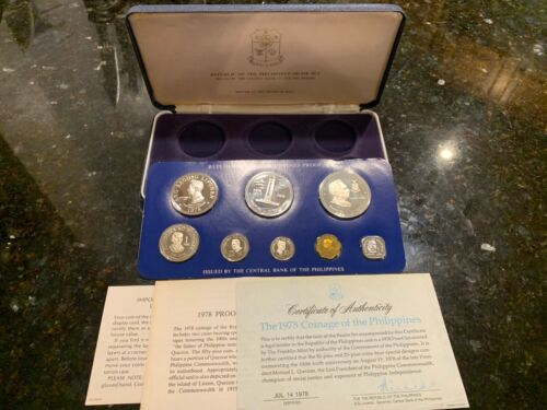 PHILIPPINES 1978 8-COIN PROOF SET COMPLETE WITH CERTIFICATE AND LITERATURE