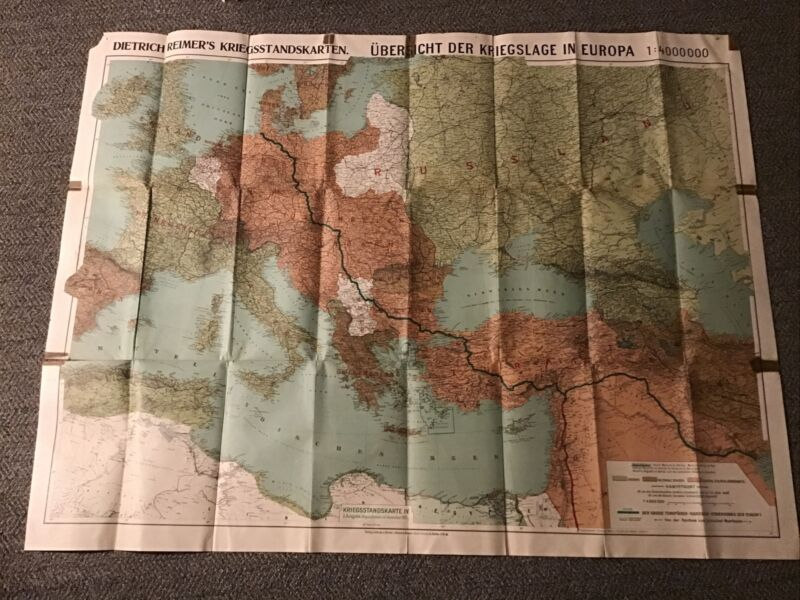 WWI GERMAN EUROPE MAP Railway From North Sea To Persian Gulf 1915