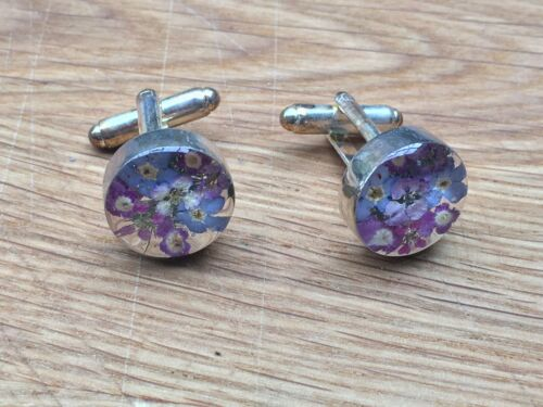 Super Vintage Sterling Silver and Dried Flowers Cufflinks marked 925