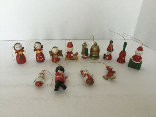 Vintage Mixed Lot Of (13)  Wooden Christmas Tree Ornaments Red White Green Gold