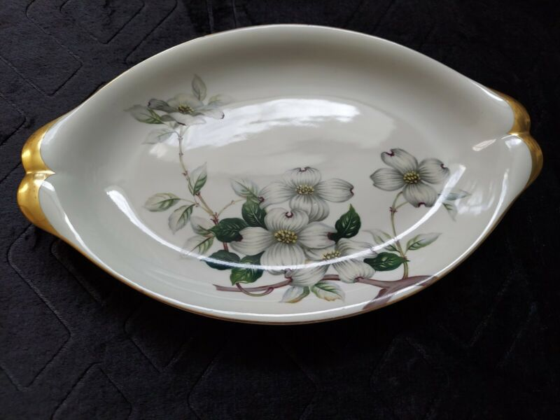 "Meito Norleans Livonia Dogwood  Oval Oblong Serving Platter 13"" Occupied Japan"