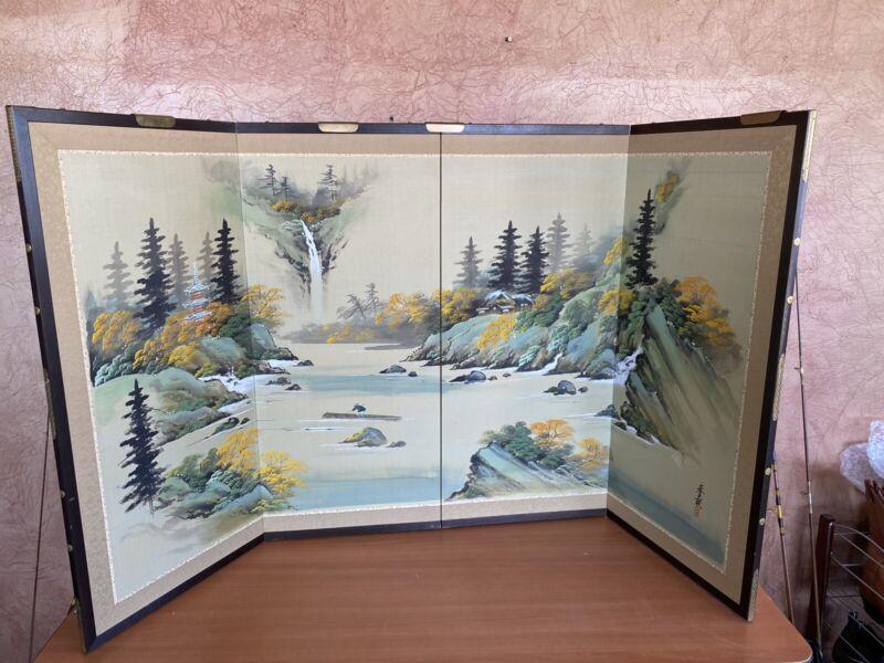 Japanese Oriental BYOBU 4 Panel Folding Screen SIGNED 36X66 INCH - FLAWED