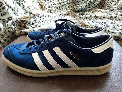 UK9 Adidas Originals HAMBURG Navy Suede - UK 9.5 EU44  - Football Casuals Mod