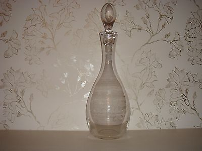 Large Tall Heavy Contemporary Glass Beverage Decanter Carafe with Glass Stopper