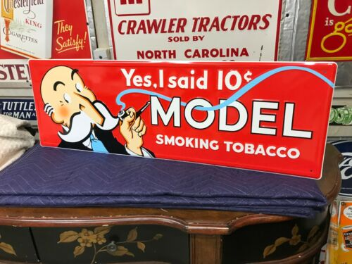 """""""MODEL TOBACCO"""" LARGE EMBOSSED METAL ADVERTISING SIGN (36""""x 12"""") MINT CONDITION"""
