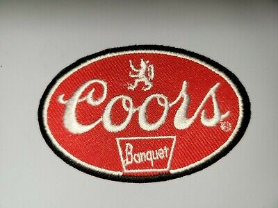 """COORS BANQUET BEER  RED & WHITE Embroidered 3"""" x 2"""" Iron On Patch"""