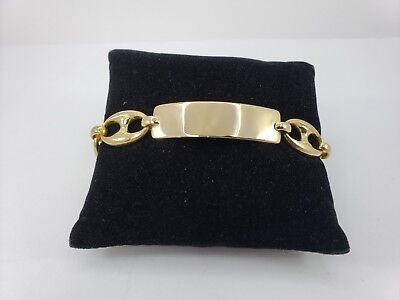 Rare 18k Gold Large Puffed Mariner Anchor Gucci Link ID Bracelet - 7 1/2 Inch - Large Id Anchor Bracelet