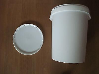 5 Stück 25 Liter Eimer mit Deckel und Kunststoffbügel lebensmittelecht, wie NEU