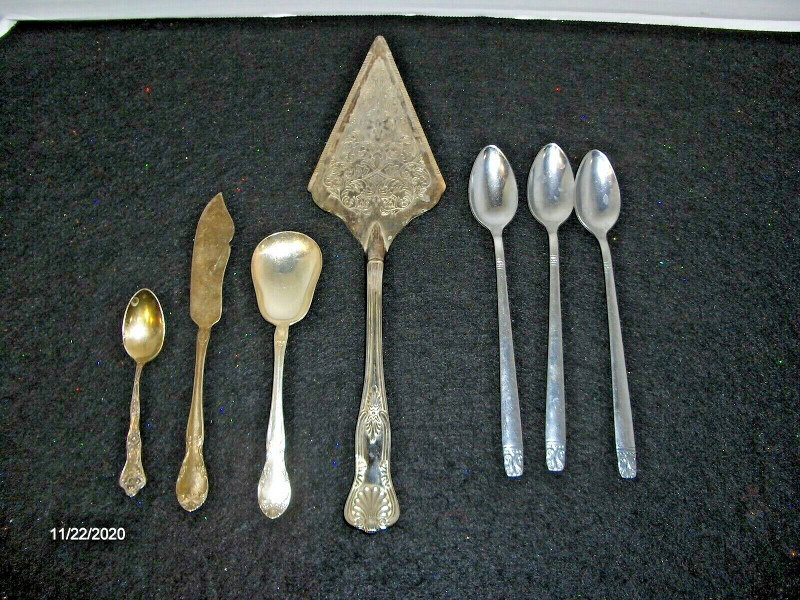 Gorham Silver Co. Silver Plate, Cake/Pie Server, Spoons Mixed Set 7 Pc. - $35.00