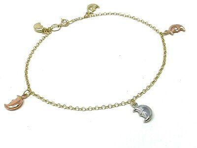 """14k Tri Color Gold Moon Charm Anklet Bracelet 10"""" 4grams"""