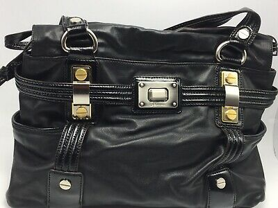 B. MAKOWSKY Large Black Leather Lambskin Soft Leather Shoulder Handbag