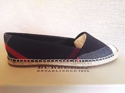 BURBERRY BRIT HODGSON ESPADRILLES 38.5 8.5 NAVY CHECK  WOMAN SHOES SPRING SUMMER