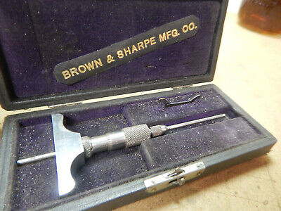 Vintage Small Brown And Sharpe Depth Micrometer With Case Machinist Tool