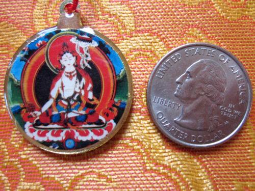 HEALING WHITE TARA & KALACHAKRA TIBETAN BUDDHIST PENDANT NECKLACE RED CORD