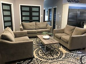 Grey Couch /2 Love-seats /2 Ottomans
