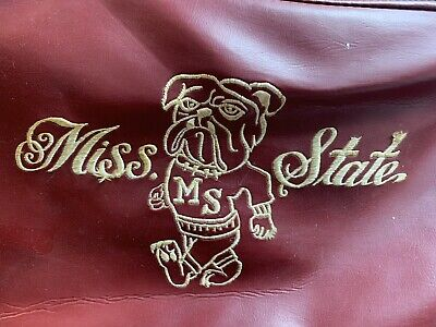 Vintage C. 1970 MISSISSIPPI STATE BULLDOGS Leather Clothes Hanging Travel Bag