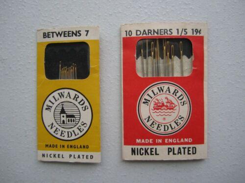 2 Packs of Vintage Milwards Needles- Betweens 7 & Darners 1/5 - Made in England