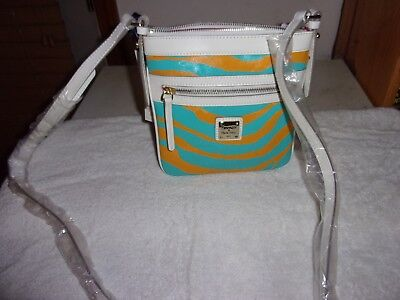 Dooney Bourke New zebra striped yellow/turquoise letter carrier, used for sale  Springfield