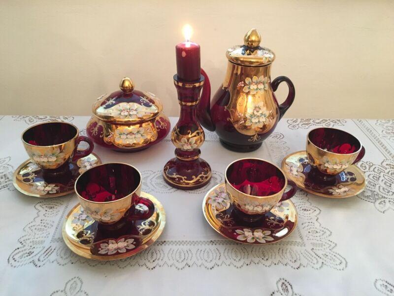 New Garnet Red Bohemian Czech Hand Painted High Enamel Tea/Coffee set 24k gold