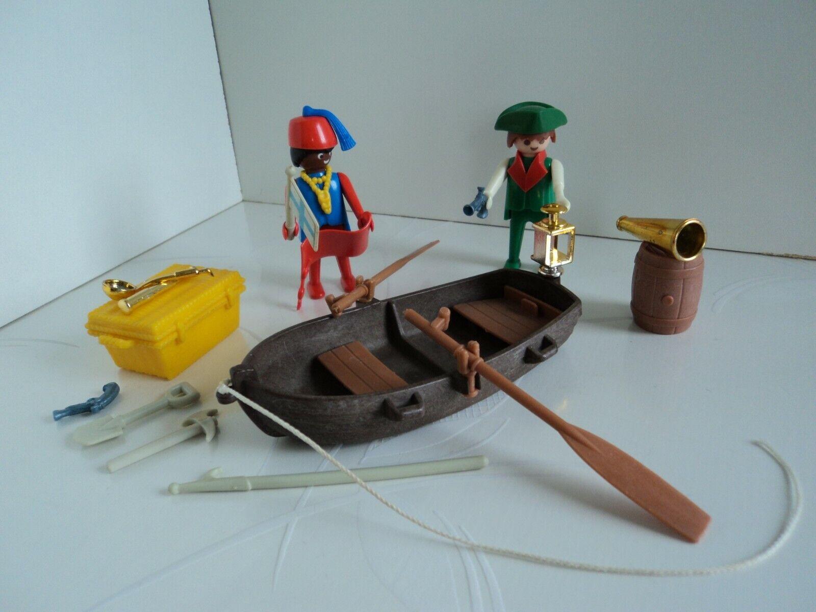 Playmobil vintage pirates barque malle carte trésor tonneau crochet 3550 #12